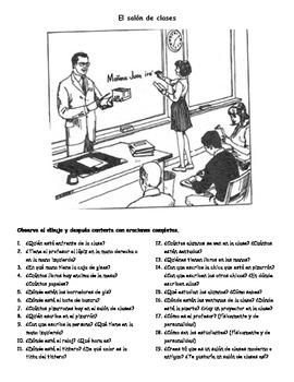 El salón de clases - Composición ilustrada