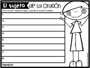 El sujeto (Subject Task Cards)