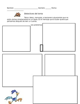 Theme Graphic Organizer in Spanish (El tema)