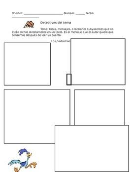 Theme Graphic Organizer in Spanish (El tema)