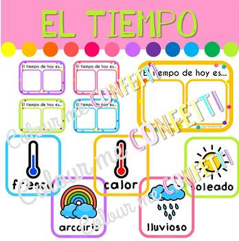 El tiempo meteorológico Flashcards - Colour me Confetti