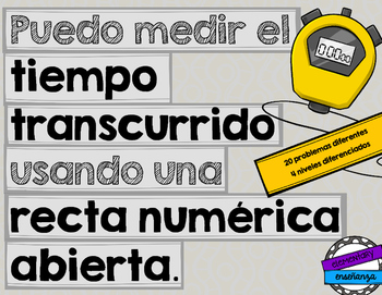 El tiempo transcurrido: elapsed time & open number lines [Spanish]