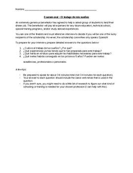 El trabajo de mis sueños (Dream Job - Speaking Exam and Rubric for Assessment)