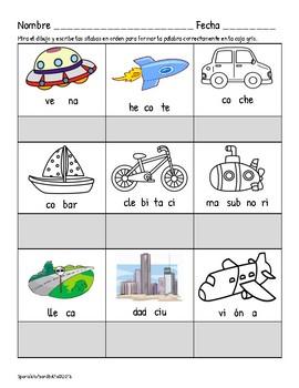 El transporte:Páginas de prácticar la escritura, la comprensión, y la lectura