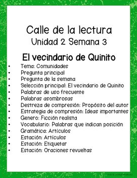 El vecindario de Quinito-Calle de la lectura- Unit 2 Week 3