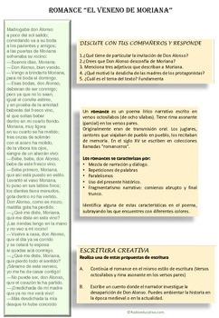 El veneno de Moriana. Spanish romance Reading comprehension and creative writing
