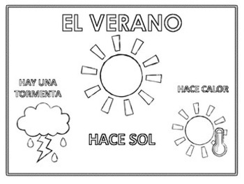 El verano, Spanish Summer Weather Color Pages