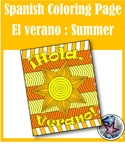El verano/ summer break - End of year Spanish Adult Coloring Page