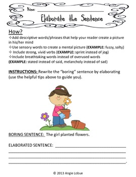 Elaborate/Enhance the Sentences - SET 1: Creative Writing Activity