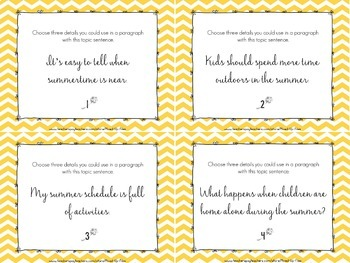 Summer Activities Writing Task Cards
