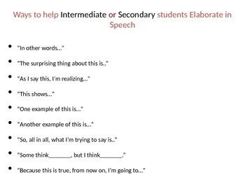 Elaborating Speech in Reader's & Writer's Workshop