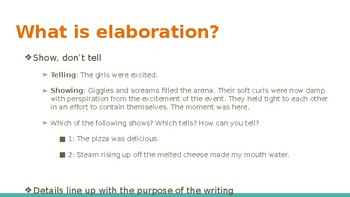 Elaboration Powerpoint- Middle School ELA