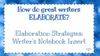 Elaboration Strategies: Writer's Notebook Insert