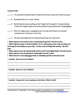 Elaboration and Development of Writing to Literature Study Guide Questions