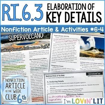 Elaboration of Key Details RI.6.3 | Yellowstone Supervolcano Article #6-4