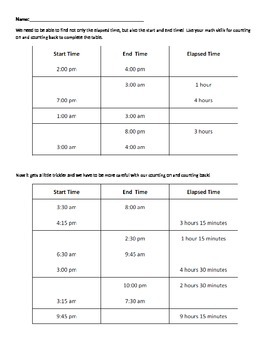 Elapse Time Worksheet