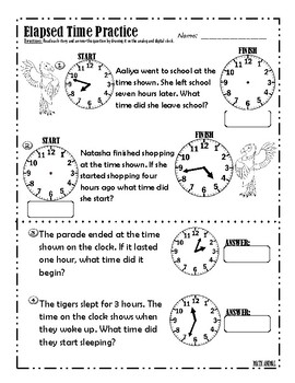 Elapsed Time 20 Word Problems