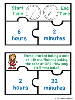 Elapsed Time Game Puzzles with Elapsed Time Word Problems 3rd Grade 3.MD.1