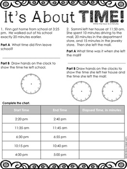 Elapsed Time Word Problems - Elapsed Time 3rd Grade