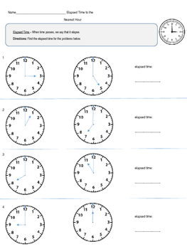 Elapsed Time - 2nd, 3rd, 4th grade