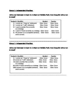 Elapsed Time 3.MD.1 Independent Practice with checklist