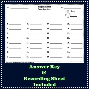 Elapsed Time - 32 Task Cards