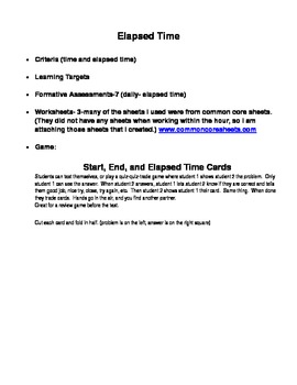 Elapsed Time Unit- 3.MD.1