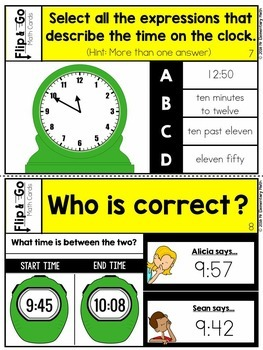 Elapsed Time Task Cards 3rd Grade Math Centers