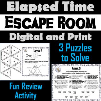 Elapsed Time Escape Room Math Game