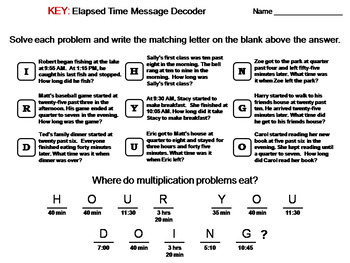 Elapsed Time Activity: Math Message Decoder