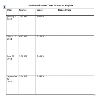Elapsed Time Activity and Lesson