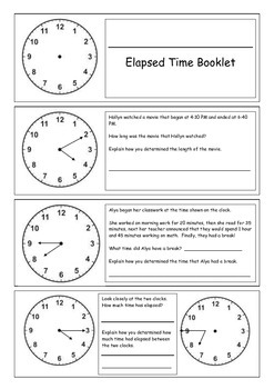 Elapsed Time Booklet (Extension Challenges)