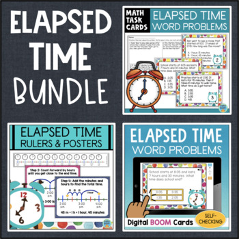 Elapsed Time Bundle: Task Cards, Rulers, Posters, Boom Cards