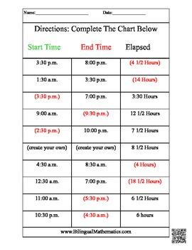 Elapsed Time - By the half hour! (English and Spanish)
