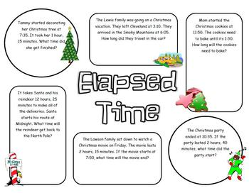 elapsed time christmas word problems by brittany ensminger tpt. Black Bedroom Furniture Sets. Home Design Ideas