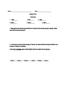 Elapsed Time- Homework