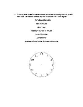 Elapsed Time Homework Sheet