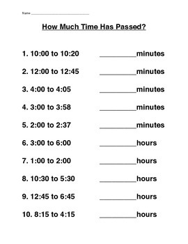 Elapsed Time Homework Worksheet