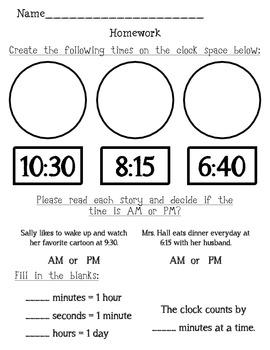 Elapsed Time Homework packet