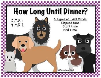 Elapsed Time How Long Until Dinner Task Cards