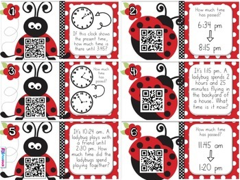 Elapsed Time Ladybugs QR Code Task Cards