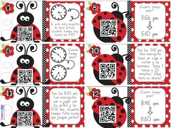 Elapsed Time Ladybugs SPANISH QR Code Task Cards