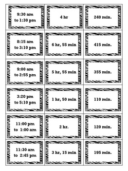 Elapsed Time Matching Cards