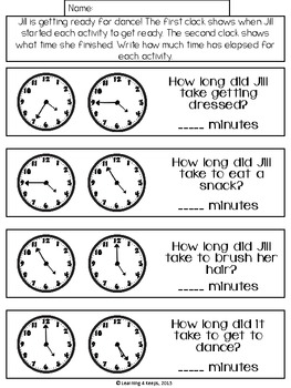 elapsed time math freebie by learning 4 keeps teachers pay teachers. Black Bedroom Furniture Sets. Home Design Ideas