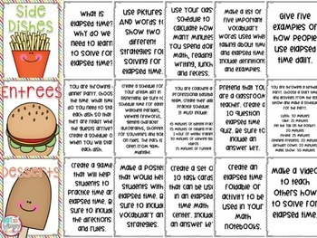 Elapsed Time Math Menu Choice Board with 18 Projects