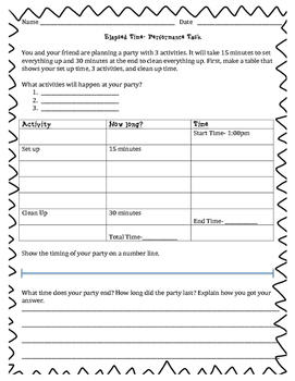 Elapsed Time- Math Performance Task