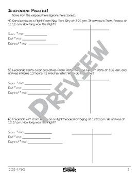 Elapsed Time Math Video and Worksheet