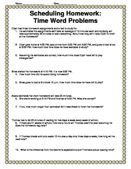 Elapsed Time Math Word Problems: Scheduling Homework