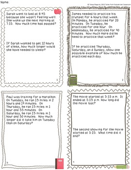 elapsed time multi step story problems task cards by tessa maguire. Black Bedroom Furniture Sets. Home Design Ideas