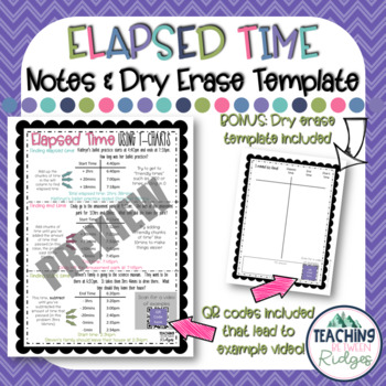 Elapsed Time Notes & Dry Erase Template